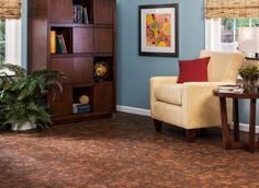 Cork is a great flooring choice because of the sound absorption, softer feel, and beauty, but also, cork trees can be harvested every 9 years without having to be replanted.