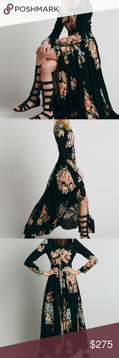 FREE PEOPLE FIRST KISS MAXI Details & Care An open-back detail and allover abstract print lend boho touches to a long-sleeve, Empire-waist maxi dress fashioned with a floor-grazing high/low hem. Back button-and-loop closure. Lined. 100% rayon. Dry clean or machine wash cold, line dry. By Free People; imported. Free People Dresses Maxi
