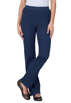 These great, boot flare stretch plus size tall jeans offer the best  fit, ever. They can be dressed up or down, they look great with all your  shoes. Our design experts have made sure this jean will provide you a  fit that moves as you do.  boot flare design is easy to put on and take off flares out from the knee for extra comfort  34&#34 inseam the full elastic waist is the most comfortable, providing all around ease & roominess, never too tight or restrictive clean front f...