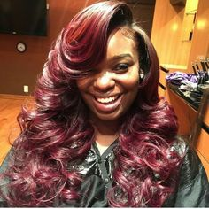 Burgundy.. Deep middle part .. my dream