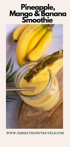 Pinterest pin Mango Banana Smoothie, Smoothie Bowl, Fruit Smoothies, Milkshake Recipes, Smoothie Recipes, Drink Recipes, Peanut Cake, Thing 1, Caribbean Recipes