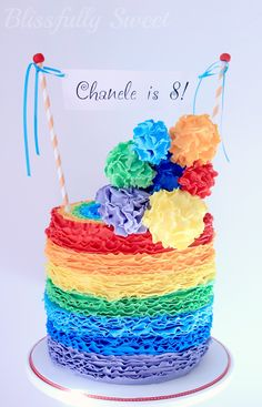 Blissfully Sweet: A Rainbow Rufflicious Birthday Cake Pretty Cakes, Cute Cakes, Rainbow Food, Rainbow Cakes, Rainbow Icing, Rainbow Theme, Rainbow Birthday Party, Birthday Cakes, Balloon Birthday