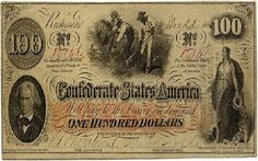 Type 41 Interest bearing confederate money in the denomination of This note features John C. Calhoun who was the Father of States Rights on the left. Hoe, The Color Of Money, 100 Dollar Bill, Dollar Bills, Confederate States Of America, Old Money, Civil War Photos, Old Coins, Us History