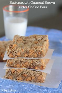 Butterscotch Oatmeal Brown Butter Cookie Bars.  Soooo good!