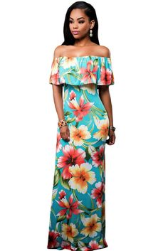 Turquoise Roses Print Off The Shoulder Maxi Dress