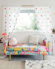 DIY Pom-Pom Curtains: Oh Joy! for Target in Kelly's Golightly's guest bedroo. DIY Pom-Pom Curtains: Oh Joy! for Target in Kelly's Golightly's guest bedroo… DIY Pom-Pom Curtains: Oh Joy! for Target in Kelly's Golightly's guest bedroom. Pom Pom Curtains, Diy Curtains, Curtains For Playroom, Blackout Curtains, Decorative Curtains, Beaded Curtains, Home Bedroom, Kids Bedroom, Diy Home Decor Bedroom Girl