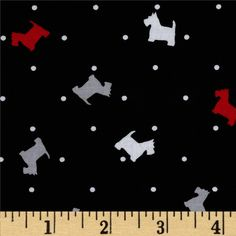 Michael Miller Scottie Toss Black from @fabricdotcom  Designed for Michael Miller Fabrics, this fabric is perfect for quilting, apparel and home décor accents. Colors include white, grey, red and black.