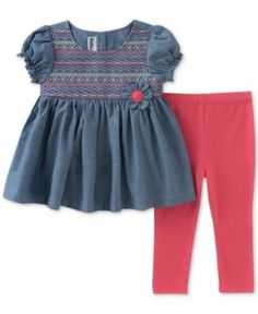 Kids Headquarters 2-Pc. Embroidered Chambray Tunic & Leggings Set, Baby Girls (0-24 months) - Blue 6-9 months