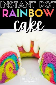 You'll love how easy it is to make this fun rainbow bundt cake in your Instant Pot! Bright swirls of color make this a lovely addition to any celebration! Pressure Cooker Desserts, Liquid Food Coloring, Swirl Cake, Cream Cheese Glaze, White Cake Mixes, Instant Pot Pressure Cooker, Fabulous Foods, Pretty Cakes, Comfort Foods