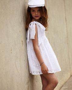 White eyelet dress w/ matching hat