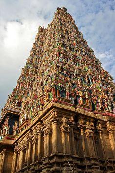 Hindu temple at Madura with hand painted hindu idols in vivid colours - India - Amazing!