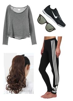 """Sporty 1"" by peem324 ❤ liked on Polyvore featuring RVCA, adidas Originals, NIKE, Ray-Ban, women's clothing, women, female, woman, misses and juniors"