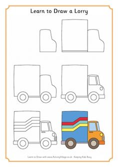 Learn to Draw a Lorry – Doodles Drawing Lessons For Kids, Easy Drawings For Kids, Art Lessons, Drawing Ideas, Easy Drawing Tutorial, Art For Kids Hub, Easy Doodle Art, Simple Doodles, Doodle Drawings