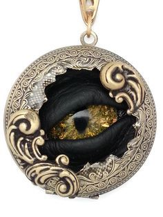 Steampunk Necklace Imperial Sightmares Pocket Watchers Steam Adder Snake Eye in Green and Gold Opal and Antique Gold by Dr Brassy Steampunk Eye Jewelry, Gothic Jewelry, Jewelry Crafts, Jewelery, Bullet Jewelry, Jewelry Necklaces, Polymer Clay Dragon, Polymer Clay Crafts, Polymer Clay Pendant