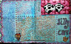 silly cat art journal page by zoe ford