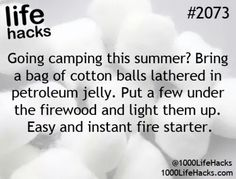 1000 life hacks is here to help you with the simple problems in life. Posting Life hacks daily to help you get through life slightly easier than the rest! Camping Hacks, Camping Diy, Camping Survival, Survival Tips, Survival Skills, Outdoor Camping, Camping Ideas, Camping Stuff, Survival Supplies
