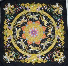 "HERMES ""LUNA PARK"" by J Metz Light Black Jacquard Silk Scarf"