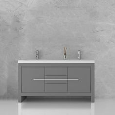 Jade Bath Sloan 60 Inch Double Freestanding Modern Grey Bathroom Vanity with Basin Double Sink Bathroom, Double Sink Vanity, Vanity Set With Mirror, Single Sink Bathroom Vanity, Small Bathroom, Relaxing Bathroom, Modern Bathroom, Bathroom Ideas, Vessel Sink Vanity