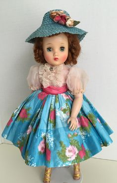 1960 printed sateen skirt with pink organdy blouse and turquoise hat with flowers Forever My Girl, Deanna Durbin, Madame Alexander Dolls, Revlon, Vintage Dolls, Doll Clothes, Temple, Harajuku, Hat