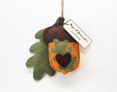 Autumn Acorn and Oak Leaf-Felt Ornament, hand stitched, Gift Tag, sage, coco brown, mustard, red, Heart, Housewarming, Fall, Home Decor