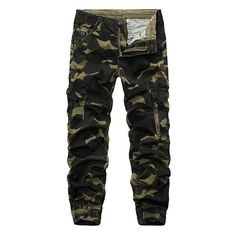 s Camouflage Multi Pockets Casual Cotton Cargo Pants ($37) ❤ liked on Polyvore featuring men's fashion, men's clothing, men's pants, men's casual pants, pants, mens cargo pants, men's 5 pocket pants, mens camo pants, mens cotton cargo pants and mens zipper pants