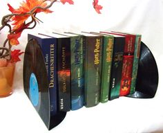 2 Stück!!Buchstützen aus Schallplatte,Bücherstü...
