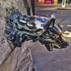 The wolf head tap at Aldgate Pump - supposed to represent the last wolf shot in london near this spot