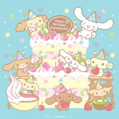 I do not know when is Cinnamoroll's birthday but this picture is really cute! Sanrio Characters, Cute Characters, Anime Characters, Little Twin Stars, Birthday Icon, Happy Birthday, Birthday Cake, Kawaii Cute, Kawaii Anime