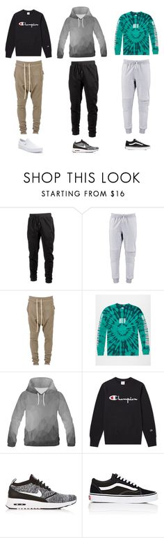 """Untitled #408"" by artsy1998 ❤ liked on Polyvore featuring Ideology, Ih Nom Uh Nit, HUF, Champion, NIKE, Vans, men's fashion and menswear"