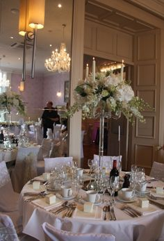 The Exquisitely Elegant Soft Green & Ivory Wedding Day of Rebecca & Matthew At The Swan Newby Bridge Ivory Wedding, Floral Wedding, Wedding Day, Iranian Wedding, Crystal Candelabra, Oriental, Wedding Decorations, Table Settings, Crystals