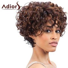 Short Side Bang Fluffy Curly Mixed Color Synthetic Wig