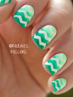 "Gradient Neon Chevron Nails... Incase you haven't thrown in enough ugly ""trendy"" fads, you can always make one nail burlap!"