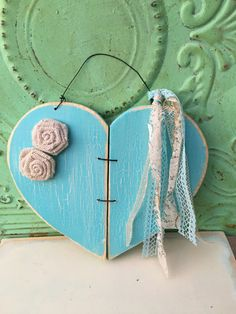 Shabby Chic Aqua Heart Hanger Wooden Home Decor by ShopFannieJanes