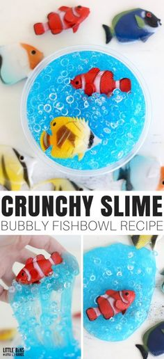 Learn how to make crunchy slime with crunchy fishbowl slushy beads! A cool textured slime recipe with a fun fishy theme. Making homemade slime is super easy with our basic slime recipes that kids will love to make! Crunchy Slime Recipe, Basic Slime Recipe, Cool Slime Recipes, Edible Slime, Diy Slime, Easy Crafts For Kids, Diy For Kids, Fish Bowl Slime, Fishbowl Slime Recipe
