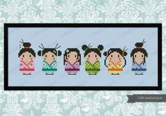 Six cute litte geishas for all the Japan lovers!    PATTERN DETAILS:  Stitches: 114x31  Size (with 14 count Aida fabric): 21x6 cm    With purchase,