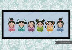 Cute little geishas PDF cross stich pattern by cloudsfactory