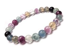 Rainbow Fluorite Bracelet - Rainbow Bracelet, Genuine Fluorite Jewelry, Colorful Gemstone Bracelet, Cute Gift Ideas, Cute Bracelet by UnearthedGemstones