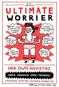 The ultimate worrier by Gemma Correll Infp, Introvert, Coaching, Believe, Bullet Journal, Angst, Lol, Comic Strips, Puns