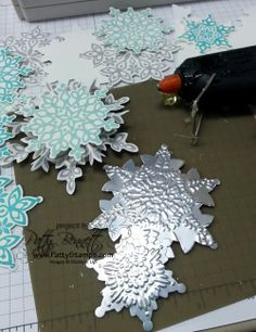 www.PattyStamps.com - Festive Flurry snowflakes - with Silver Paper from Stampin…