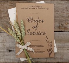 Brown kraft Order of Service, very eco friendly and great for a rustic look.