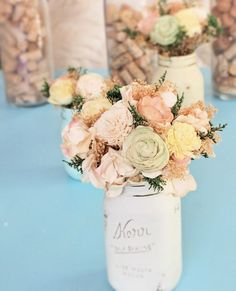 Sola flower bouquets make beautiful long-lasting centerpieces. Place them in painted mason jars, like this! | http://emmalinebride.com/bride/flower-bouquets-that-last