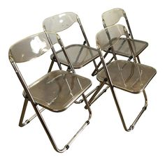 Mid-Century Plia Castelli Style Chrome Folding Chairs - Set of 4 on Chairish.com