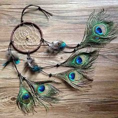 Ydtek New Fashion Gift Hot Indian Peacock Dreamcatcher Wind Chimes Indian Style Feather Pendant Dream Catcher Gift