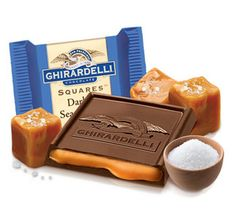 Ghirardelli Dark Chocolate with Sea Salt Caramel Filling Squares: Box Chocolate Company, Chocolate Shop, Ghirardelli Chocolate Squares, Sea Salt Caramel, Delicious Desserts, Yummy Snacks, Sweet Tooth, Candy, Favorite Things
