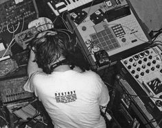 """afxtwin: """"soundrooms: """" AFX surrounded by mountains of gear. """" one of my favorite pictures of him. """""""