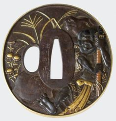 """A gold-rimmed iron tsuba with highly detailed representation of the noted samurai, Kidomaru and his horse in shakudo, silver, gold and copper among rocks and kiku. On the reverse, his six pursuers in copper, gold and shakudo, cross a stylized..."