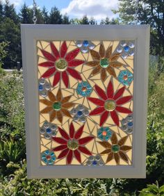 Flower Stained Glass Mosaic Panel - Colorful Daisy Stained Glass - Floral Home Decor Window Hanging Daisies by NiagaraGlassMosaics on Etsy