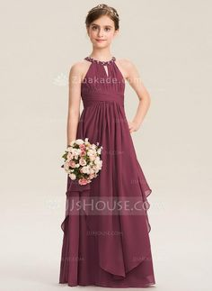 A-Line Scoop Neck Floor-Length Chiffon Junior Bridesmaid Dress With Ruffle Beading - Junior Bridesmaid Dresses - JJ's House Little Girl Wedding Dresses, Indian Wedding Outfits, Dresses Kids Girl, Wedding Party Dresses, Flower Girl Dresses, Preteen Girls Fashion, Kids Gown, Ruffle Beading, Long Sleeve Evening Dresses