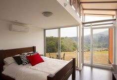 Bedroom in a Costa Rican shipping container home