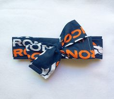 Denver Broncos Head Wrap // Retro //Headbands // Head wrap // Headwrap // Top Knot by becrushbows on Etsy